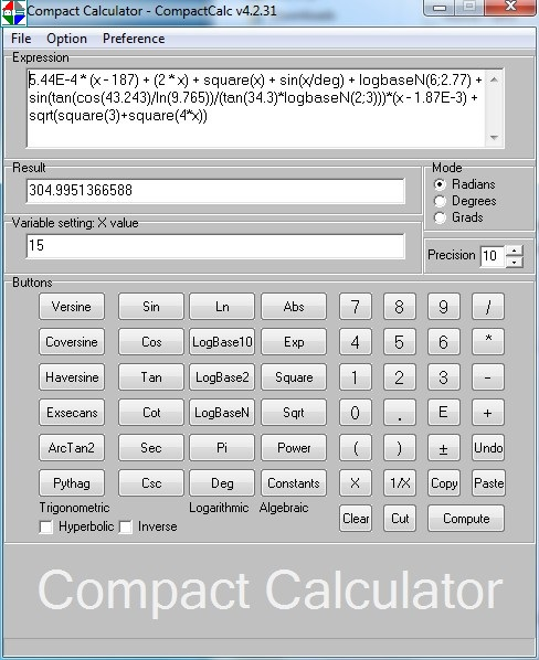Click to view Compact Calculator - CompactCalc 4.2.6 screenshot