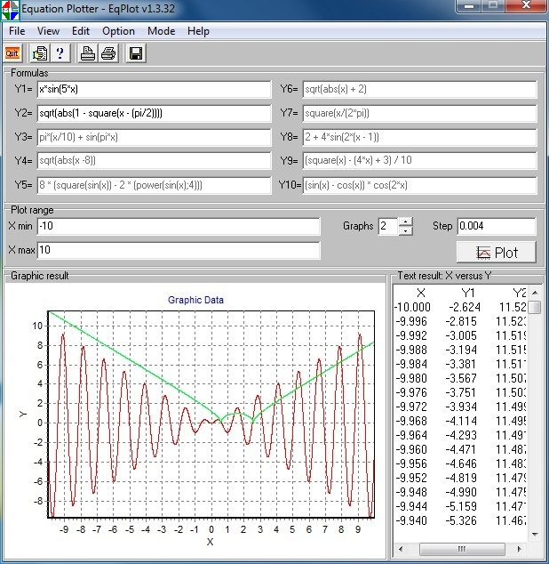 Click to view Equation graph plotter - EqPlot 1.3.26 screenshot