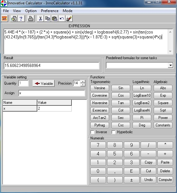 InnoCalculator is multipurpose and comprehensive desktop calculator for Windows well known Screen Shot